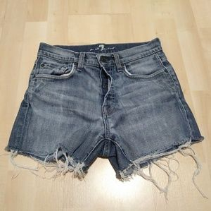 7 for all mankind button fly cut off shorts